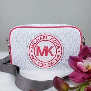 🌺NWT Michael Kors Fulton Crossbody Bag White Pink